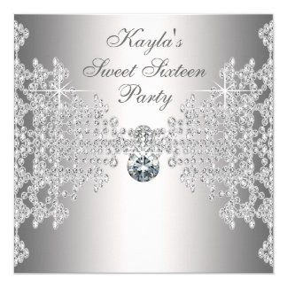 Silver Diamonds White Sweet Sixteen Birthday Party Card