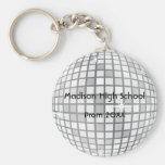 Silver Disco Ball Prom Formal Favour Basic Round Button Key Ring