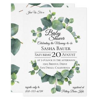 Silver Dollar Eucalyptus Baby Shower Invitation
