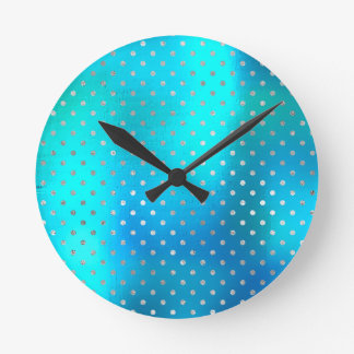 Silver Dots Pearly Beach Ocean Blue Turquoise Round Clock