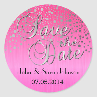 Silver Dots & Pink | Personalize Round Sticker