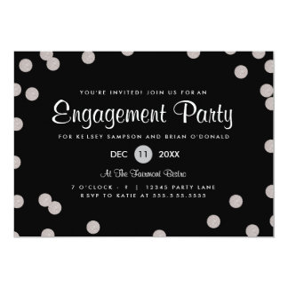 Silver Dotted Engagement Party Invite