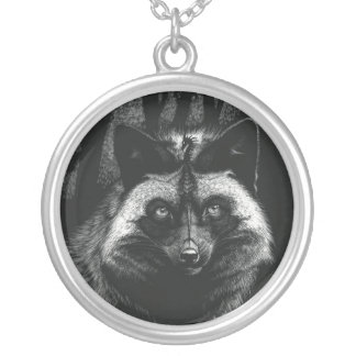 Silver Dragon Fox Necklace