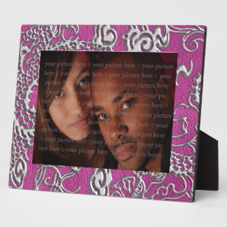 Silver Dragon on Magenta Pink Leather Texture Photo Plaques