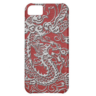 Silver Dragon on Red Leather Texture iPhone 5C Case