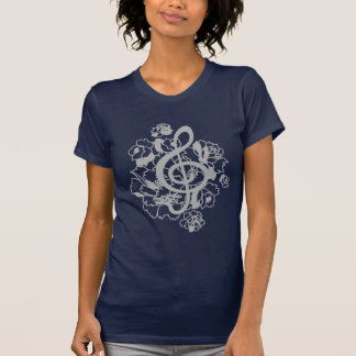 Silver Dragon treble clef peonies Custom Shirt