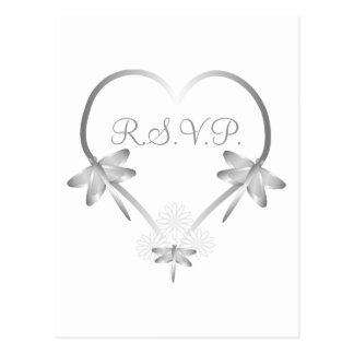 Silver Dragonfly Heart RSVP Insert Postcard