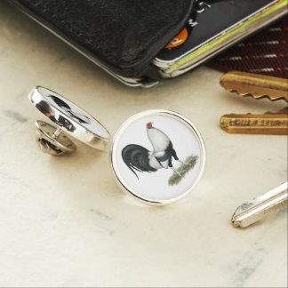 Silver Duckwing Gamecock Lapel Pin