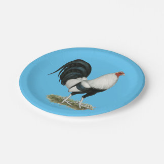Silver Duckwing Gamecock Paper Plate