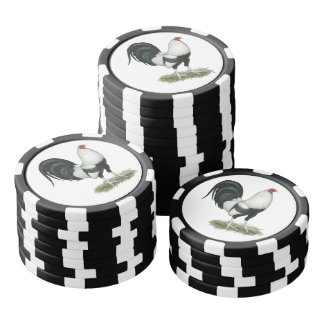 Silver Duckwing Gamecock Poker Chip Set
