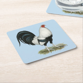 Silver Duckwing Gamecock Square Paper Coaster