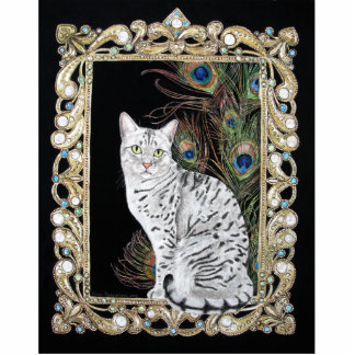Silver Egyptian Mau Standing Photo Sculpture