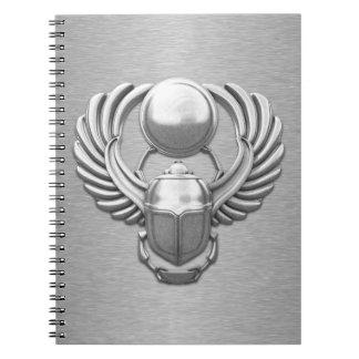 Silver Egyptian Scarab Spiral Notebook