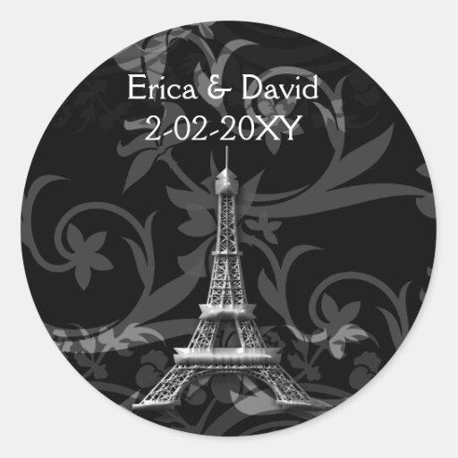 silver Eiffel Tower French wedding Seals Round Sticker