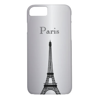 Silver Eiffel Tower Silhouette Phone & Ipad Cases