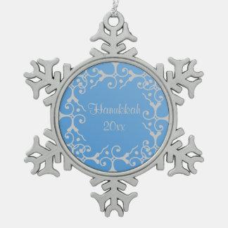 Silver Elegance Blue Hanukkah Snowflake Pewter Snowflake Decoration
