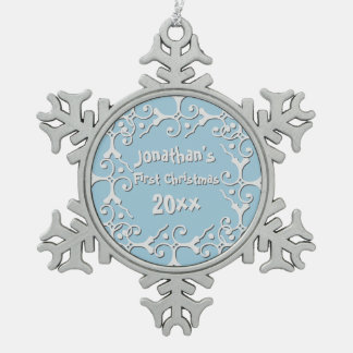 Silver Elegance Personalized First Christmas Pewter Snowflake Decoration