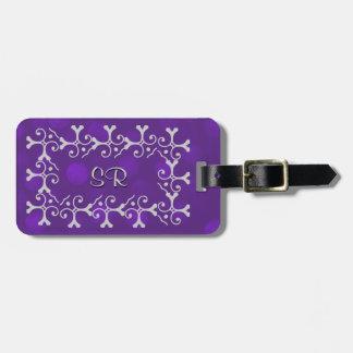 Silver Elegance Purple Sparkle Personalised Luggage Tag