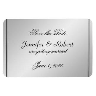 Silver Elegance Wedding Save the Date Rectangular Photo Magnet