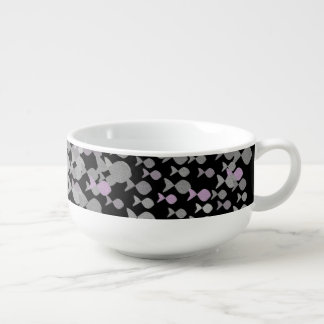 Silver Elegant Fish Pattern Beautiful Chic Black Soup Mug