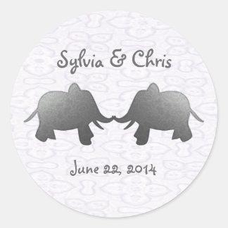 silver elephant - white classic round sticker