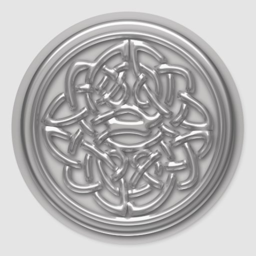 Silver Embossed Effect Cletic Knot Badge Round Round Stickers