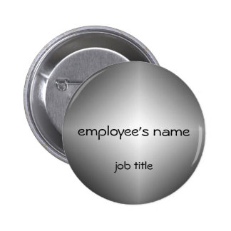 Silver Employee Name Tag Button