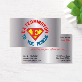 Silver Exterminator to the Rescue Pest Con 2 Sided Business Card