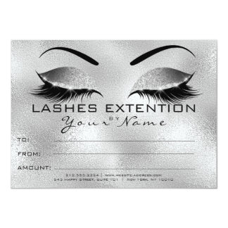 Silver Eye Lashes Beauty Makeup Certificate Gift Card