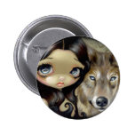 """Silver Eyed Wolf"" Button"