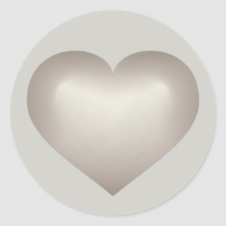 Silver fade heart on gray classic round sticker