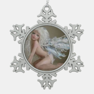 Silver Fairy Sister Pewter Snowflake Decoration