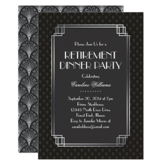 Silver Fans Art Deco Retirement Party Card