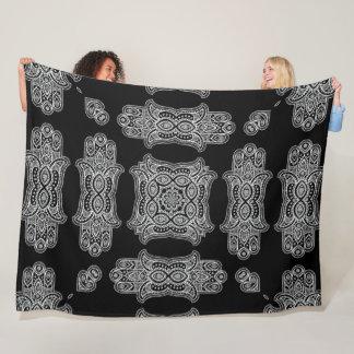 Silver Fatima Hand Paisley Pattern Fleece Blanket