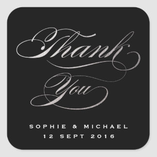 Silver faux foil calligraphy thank you stamp square sticker