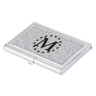 Silver Faux Glitter and Stars Business Card Holder