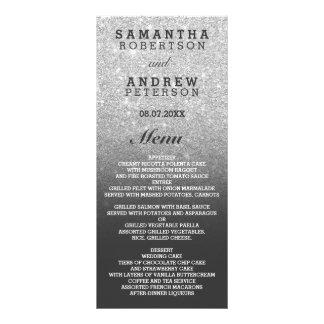 Silver faux glitter grey bilingual wedding menu