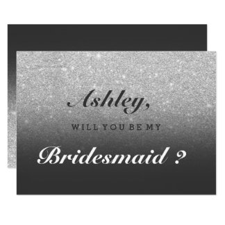 Silver faux glitter grey ombre be my bridesmaid card
