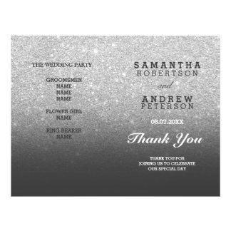 SIlver faux glitter grey ombre wedding program Flyer