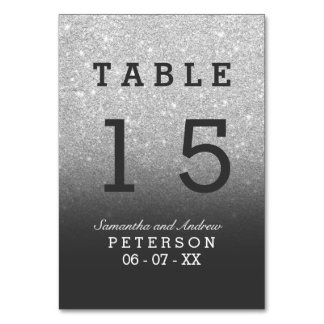 Silver faux glitter grey ombre wedding table card