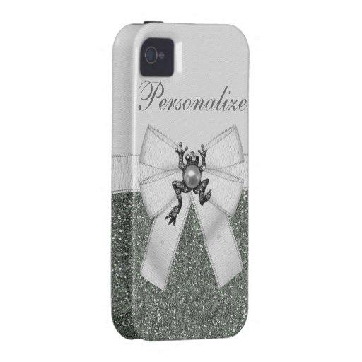 Silver Faux Glitter & Jewel Frog iPhone 4/4S Case
