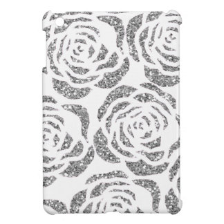 Silver Faux Glitter Roses Custom iPad Mini Case