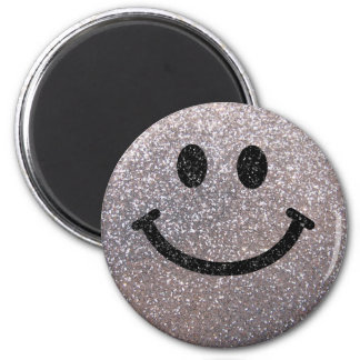 Silver faux glitter smiley face 6 cm round magnet