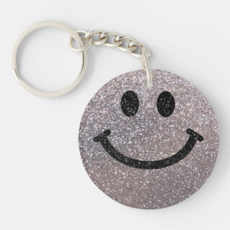 Silver faux glitter smiley face key ring
