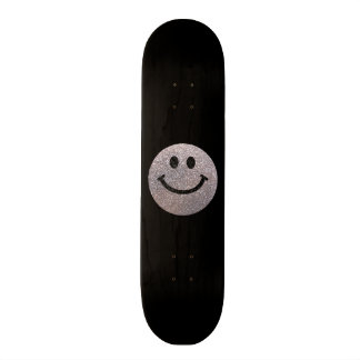 Silver faux glitter smiley face skate decks