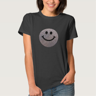 Silver faux glitter smiley face t-shirts