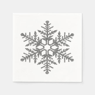 Silver Faux Glitter Snowflake Disposable Napkin