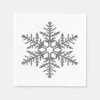 Silver Faux Glitter Snowflake Disposable Serviettes