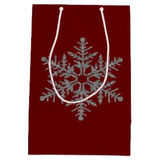 Silver Faux Glitter Snowflake Medium Gift Bag