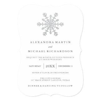 Silver Faux Glitter Snowflake Wedding 13 Cm X 18 Cm Invitation Card